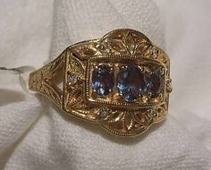 14k Yellow Gold Alexandrite Ring Diamonds Generations 1912 Color Change Size 9