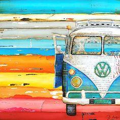 ART PRINT Vw volkswagen van bus retro vintage beach coastal wall decor poster painting summer gift nostalgia wedding, All Sizes Volkswagen Bus, Vw T1, Vw Camper, Volkswagon Van, Vw Beach, Beach Art, Canvas Art, Canvas Prints, Art Prints