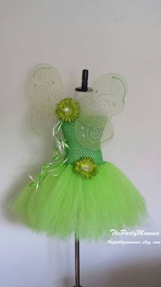 Tinkerbell Inspired Tutu Dress/ Tinkerbell Costume/ Tinkerbell Fairy Party Dress/ Favors