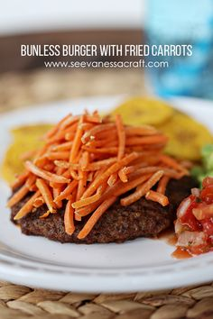 Whole30 Bunless Burger with Fried Carrots | See Vanessa Craft  #12Bloggers