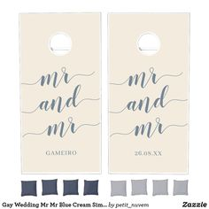 Gay Wedding Cornhole Set | Mr Mr Wedding Grooms in Blue Cream with Simple and Modern Script