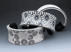 Cuffs | Stonehouse Studio. Polymer clay over a silver plated cuff