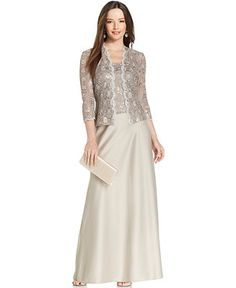 Alex Evenings Sequin-Lace Satin Gown and Jacket - Mother of the Bride - Women - Macy's