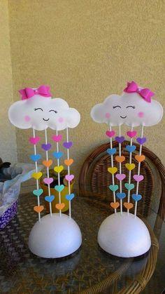 Ideas For Baby Shower Decoracion Arcoiris Rainbow Birthday, Unicorn Birthday Parties, Unicorn Party, Birthday Party Themes, Felt Crafts, Diy And Crafts, Crafts For Kids, Paper Crafts, Cloud Party