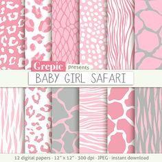 "Pink animal print: digital paper ""BABY GIRL SAFARI"" / light pink zebra print 