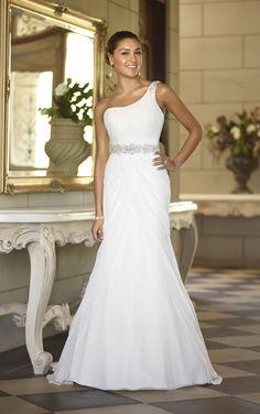 Simple One-shoulder Wedding Dress for Older Brides Over 40, 50, 60, 70. Elegant Second Wedding Dress Ideas.