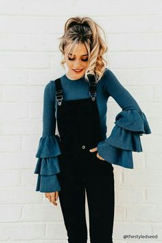 303f8764562 I would never wear it but it looks cute on her Black Overalls Outfit