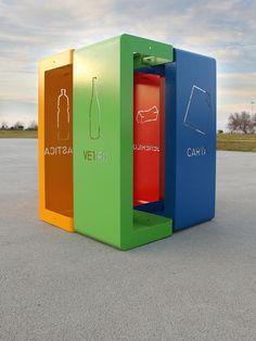 Recycling bin for waste separation for public spaces. GIBILLERO by Antonio Mastrorilli - G. Scuderi & Bomin Kim.