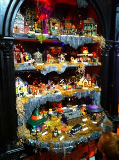 Halloween Village Display / Department 56 Halloween Village / = Great display idea for bookcases!