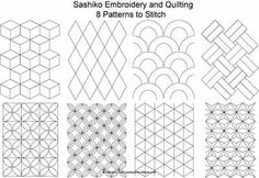 Set of Eight Sashiko Stitches.   (Full-size patterns given on the following pages)