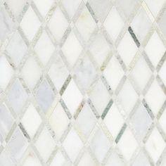 Carrara White Caribbean Green Diamond Marble Mosaic - 12 x 12 - 100051770 | Floor and Decor