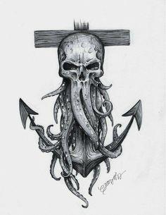 Octopus Tattoo Design, Octopus Tattoos, Tattoo Design Drawings, Tattoo Sleeve Designs, Tattoo Sketches, Leg Tattoos, Body Art Tattoos, Tattoos For Guys, Navy Tattoos