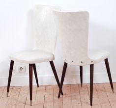 chaises vintage, bois sombre, skaï, style, forme et fonction, lucinevintage
