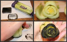 Beautiful stamped roses using celery!