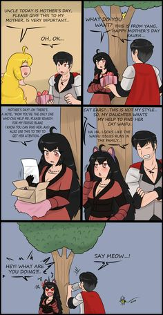 The end for the adventure of Raven finding the kitty waifu is here , have fun girls Rwby Anime, Rwby Fanart, Anime Chibi, Anime Art, Cute Comics, Funny Comics, Rwby Qrow, Rwby Blake, Rwby Memes
