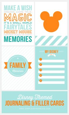 Free Printable Disney Themed Journaling and Filler Cards {Set 1}