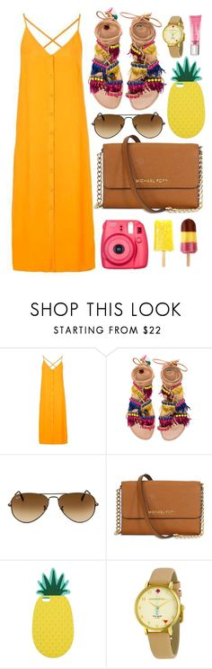 """Summer Brights"" by monmondefou ❤ liked on Polyvore featuring Topshop, Elina Linardaki, Ray-Ban, Miss Selfridge, Fujifilm, Kate Spade, Beauty Rush, Summer, yellow and bright"