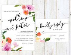 Spring Wedding Invitation, Watercolor Floral Wedding Invitation, Colorful Flowers Invite