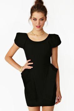 Victoria Peplum Dress in Black