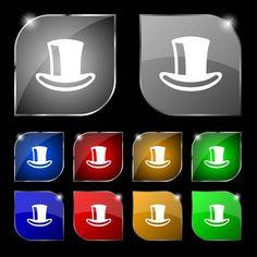 Cappello a cilindro segno icona. Set di dieci pulsanti colorati con luce  vivida. Illustrazione vettoriale 7d0c8aeee031