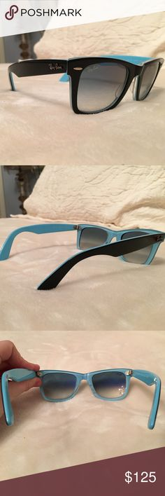 RAYBAN WAYFARER☀️ RAYBAN wayfarers. Black on the outside and blue on the inside. 100% authentic and used them for one summer. Still In perfect condition!! Ray-Ban Accessories Sunglasses