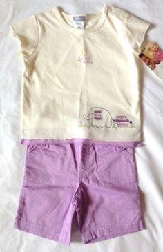 CARTER'S 9 mos Purple White 2-Piece Top Capri Set Tee Cotton Short Sleeve #Carters #OutfitsSets
