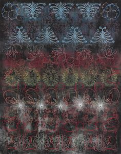 "Master of Many | Hyperallergic | Philip Taaffe, ""Choir"" (2014-2015), mixed media on canvas, 141 1/4 x 110 3/4 inches (all images courtesy Luhring Augustine)"