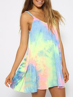 Rainbow Tie Dye Weave Spaghetti Strap Shift Dress- good cover up for my bikinis. Short Beach Dresses, Cute Dresses, Casual Dresses, Mini Dresses, Romantic Dresses, Dresses Dresses, Summer Dresses, Chiffon Dresses, Dresses 2016
