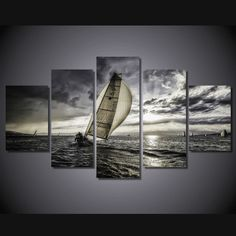 Style Your Home Today With This Amazing 5 Pieces Multi Panel Modern Home Decor Framed Sunset Sailboat Seascape Wall Canvas Art For $99.98 Discover more canvas selection here http://www.octotreasures.com If you want to create a customized canvas by printing your own pictures or photos, please contact us.