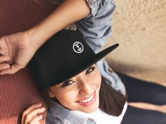 aa000d194ac Placeit - Smiling Young Hispanic Girl Wearing a Snapback Hat Mockup