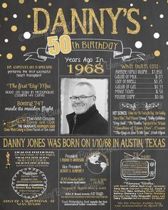 50th birthday poster 50th birthday chalkboard 1968 birthday poster 1968 birthday facts back - Geburtstagsideen 50 ...