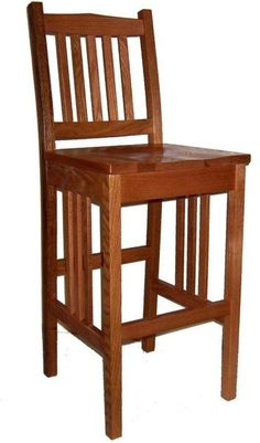 Amish California Mission Stationary Bar Stool Cheers to solid wood mission style bar stools! These beauties will be dazzling and comfy lining your kitchen counter or bar. Handcrafted in Amish country in choice of wood and stain. #barstools #stools