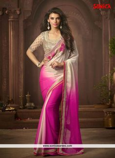 Intricate Faux Chiffon Hot Pink Designer Saree