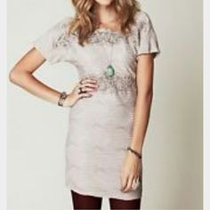 Free People NWT beige shift dress, beautiful! This is a beautiful beige dress with a textured pattern, lace detail, stretch and comfort.  I just purchased this and it a bit too large, selling or would trade for a size M. Free People Dresses Mini