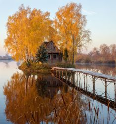 Autumn Cabin on The Lake Landscape Photos, Landscape Photography, Nature Photography, Visual Design, Ukraine, Deciduous Trees, Cabins And Cottages, Fall Pictures, Beautiful Places