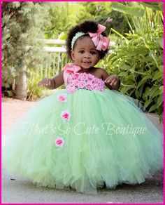 Mint and Pink Flower Girl Tutu Dress-pink, mint, green, flower girl, flowergirl, tutu dress, wedding, flowers, shabby chic