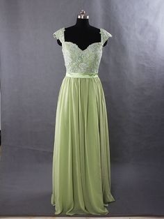 Sage Long Lace Bridesmaid Dress Chiffon Dress With cap sleeves and open back prom dress