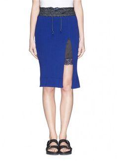 Sacai Luck Side Split Knit Pencil Skirt   Clothing