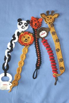 knitting patterns toys Zoo Animals Soother Pacifier Clip Patterns Crochet pattern by Ramona Byers Crochet Gifts, Crochet Toys, Free Crochet, Patons Grace Yarn, Crochet Pacifier Holder, Knitting Patterns, Crochet Patterns, Pdf Patterns, Free Pattern