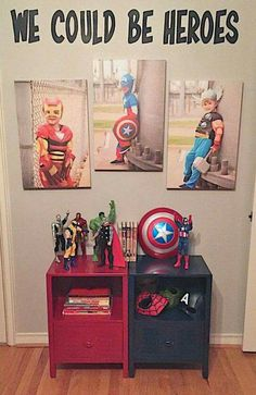19 Beyond clever superhero room ideas that you want to steal - DIY Kinderzimmer Ideen Boys Superhero Bedroom, Marvel Bedroom, Kids Bedroom, Bedroom Ideas, Boy Bedrooms, Superhero Room Decor, Superhero Dress Up, Superhero Bathroom, Superhero Kids