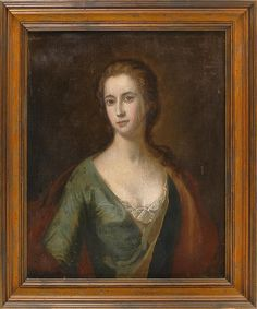 *own this * CONTINENTAL SCHOOL, Late 18th/Early 19th Century, Half-length portrait of a woman in a blue dress., Oil on canvas, 28