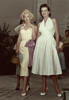 Jane Russell and Marilyn Monroe at the Chinese Theatre.