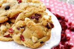 Red, White, and Blue Cookies - made with dried cranberries, dried blueberries and white chocolate chips