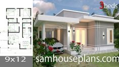 House Plans with 3 bedrooms roof tiles - Sam House Plans 3d House Plans, Simple House Plans, Model House Plan, Simple House Design, House Blueprints, Craftsman House Plans, Bedroom House Plans, Bungalow Floor Plans, Modern Bungalow House