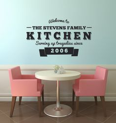 """Humorous """"Serving up Tragedies"""" 50's diner inspired wall decal."""