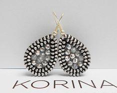 Teardrop Zipper Earrings - Silver Earrings - Elegant Earrings - Zipper Jewelry - Glass Bead Jewelry