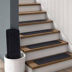 Tucker Murphy Pet Beardsley Scrape Rib Non-Slip Stair Tread Color: Gray Garage Stairs, Basement Steps, Old Basement, Basement Stairwell Ideas, Basement Furniture, Stair Tread Rugs, Carpet Stair Treads, Carpet Stairs, Stairs With Wood And Carpet