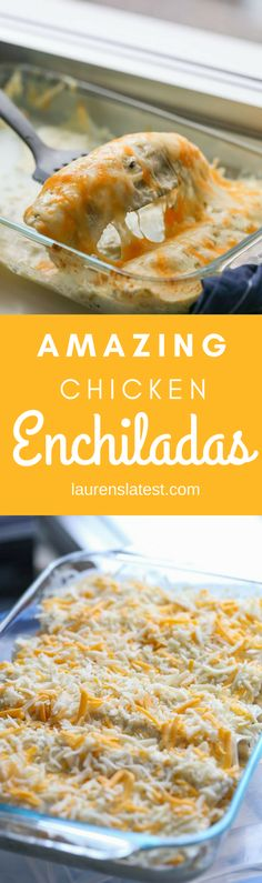 These Enchiladas are filled with lots of chicken, cheese and my secret ingredient, queso! They are simple to make and are loved by everyone. Give these chicken enchiladas a try tonight!