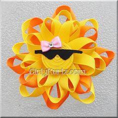 Sunshine Loopy Hair Bow by GirlyKurlz.com ❤