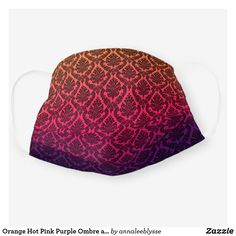 Orange Hot Pink Purple Ombre and Black Damask Cloth Face Mask Ombre Background, Purple Ombre, Online Gifts, Snug Fit, Damask, Hot Pink, Orange, Face, Pattern